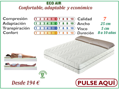 colchon viscoelastico barato eco air web